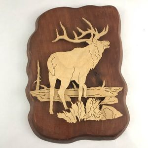 Standing Elk Dimensional Carved Wood Wall Decor